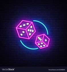 Dice neon sign design template dice game vector image on VectorStock Neon Wallpaper, Black Wallpaper, Lighting Logo, Neon Lighting, Neon Design, Light Design, Modern Design, Neon Words, Neon Logo