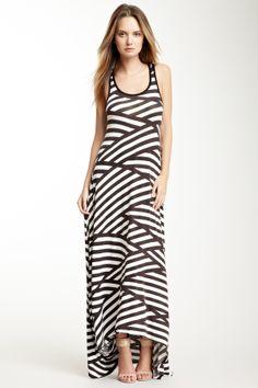 Striped Hi-Lo Maxi Dress