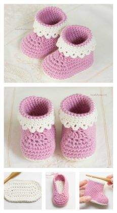 Pink Lady Baby Booties Free Crochet Pattern