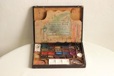 French Antique Wood Boxed Watercolour Paint Set by EpoqueVintage
