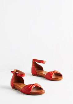 Worth a Gambol Sandal. Take a chance on the charming panache of these vermillion-red flats by Miz Mooz! #red #modcloth