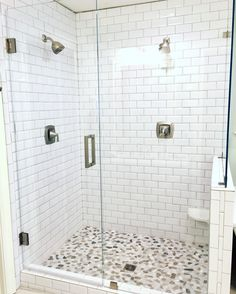 Walk in shower | Subway tile | Carrera marble tile | Glass shower door | Build a shower | DIY Shower