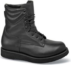 "One tough customer, P.W. Minor's new 8-inch black ""Hercules"" boot. Made in U.S.A. Sizes 6–14 and 15 in 3E and 5E."