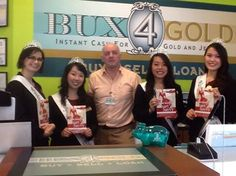 We had a surprise visit by the 2013 Court participants from the Japanese Queen Scholarship Organization of Washington. It was a lovely surprise and Mr. Patrick Kane presented Kat Kim's book, Socially Smart and Savvy to the girls. Thank you so much for visiting Bux4Gold and we wish you the best of luck!   www.bux4gold.com