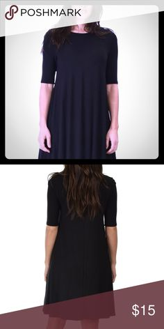 Black super soft t-shirt dress Easy to dress up or down! Sleeves are elbow length, made of soft t-shirt material. Never been worn. Dresses Mini