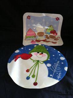 vinyl christmas placemats gingerbread man snowman cardinal lot 2 sparkle unknown