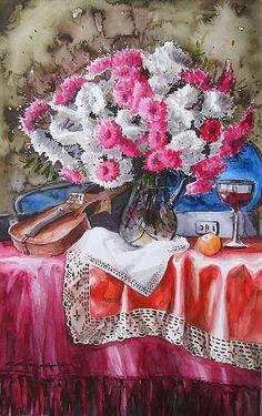 CELAL GÜNAYDIN Türkish Artist Painter Watercolor  55x35 cm