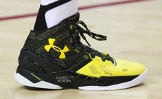Chris Brown Debuts the Under Armour Curry Two In Black & Yellow