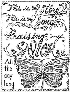 Hymn-spiration 4 coloring pages Instant Dowload Art to Color Christian Digital Coloring Bible Verse Coloring Page, Colouring Pages, Adult Coloring Pages, Coloring Books, Coloring Sheets, To Color, Colorful Pictures, Bible Art, Bible Crafts