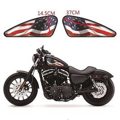 2 X USA Flag Fuel/Gas Tank Decals Emblem Badges Stickers For Harley