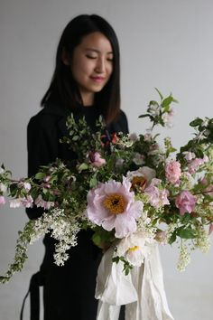 lush white and pink bridal bouquet