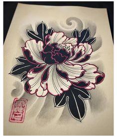 Irezumi Tattoos, Leg Tattoos, Black Tattoos, Body Art Tattoos, Sleeve Tattoos, Japanese Peony Tattoo, Japanese Tattoo Designs, Japanese Flowers, Floral Tattoo Design