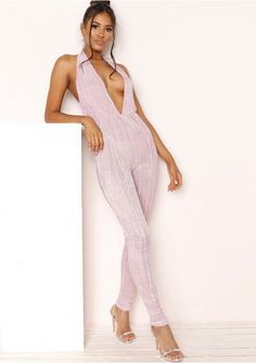f97f581024b Our Kat Lilac Glitter Plunge Halterneck Jumpsuit featuring glitter ribbed