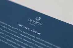 Located in Folegandros, an island that has kept its Aegean legacy untouched by time, Anemi boutique hotel was created to guarantee an amazing hospitality experience combining contemporary design and Cycladic architecture. Menu Restaurant, Kitchens, Cards