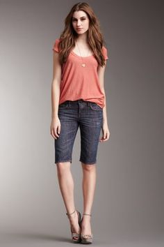 bermuda shorts and the perfect tee in a bright color. I like the wedges here, but it might be just as fun with some canvas slip ons or gladiator sandals.