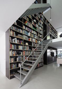 (Vertical Loft presents bold architecture in Rotterdam by design studio Shift Architecture Urbanism Library Bookshelves, Cool Bookshelves, Bookcases, Bookcase Wall, Book Shelves, Library Wall, Dream Library, Bookshelf Design, Wall Shelves