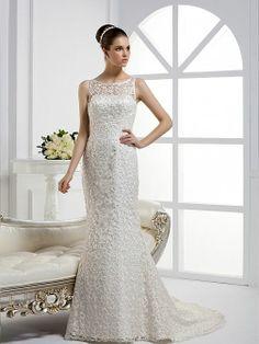 Scoop neckline Trumpet/Mermaid Lace wedding dress