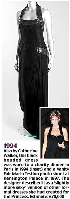 dress auction. Princess Diana's 'Fit for a Princess' dress auction - Catherine Walker black beaded dress worn to a charity dinner in Paris at the Palace of Versailles for UNESCO in 1994, as well as a Mario Testino photo shoot.