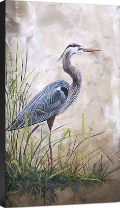 Heron Oil Painting Signed P White