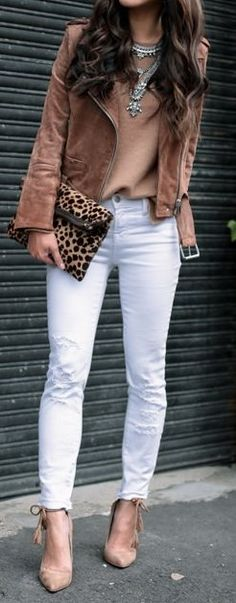#fall #outfits · Camel Gilet // Cashmere Blouse // White Ripped Jeans // Pumps