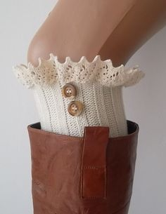 Ivory lace boot cuffs with lace and buttons by CarnavalBoutique, $22.00