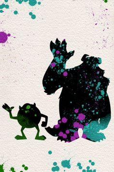 Monsters Inc watercolor illustrations art children's room wall art art home decor nursery art pixar Disney Kunst, Art Disney, Disney Nerd, Disney Diy, Disney Love, Disney Magic, Monsters Inc, Disney Monsters, Art And Illustration