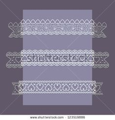 Lace Ribbons Set with hearts - stock vector