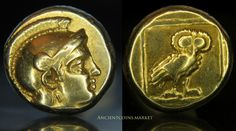 Owl and Athena Very RARE Ancient Greek Gold Coin Lesbos Mytilene 1 6STATER Hecte | eBay