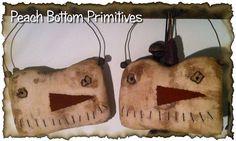 ePattern~Primitive Winter Extreme Snowman Hangers, Sewing Pattern PDF Peach Bottom Primitives