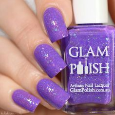 """""""OH SANDY!"""" RYDELL HIGH FOREVR by GLAM POLISH: a violet jelly base jam w/both holographic glitter and flakies, this polish takes three coat polish, but it's worth it!"""