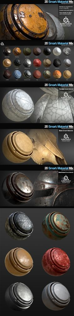 20 random smart materials pack Substance painter, metal, bone, damascus, tank, rubber, bronze, clay, leather, plastic, machinery, stone, rock, porcelain, foil, meat, engine, pbr, obsidian, designer, gumroad