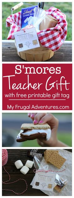 Adorable smores gift basket idea for teacher appreciation gifts or end of school year class gifts. Includes a free printable gift tag.
