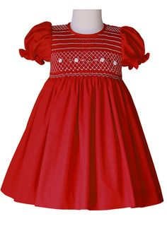 Amelia Red Holiday Classic Smocked Girls Dress – Carousel Wear