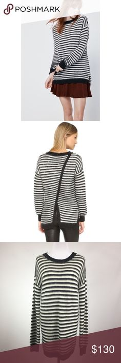 REBECCA MINKOFF WORTH SWEATER DESCRIPTION This is your new favorite fall sweater. Crafted from soft cotton and finished with stripe detail, this sweater is worth your time.  Color: DETAIL & CARE 65% Cotton, 32% Tencel, 3% Cashmere and Mohair Dry clean only Rebecca Minkoff Sweaters Crew & Scoop Necks