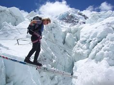 Crossing the Khumbu-icefalls, Mount Everest- I would LOVE to climb Mt Everest
