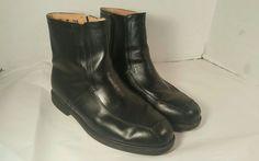 Vtg Haband Lions Den Men's Black Leather Ankle Boots Sz 9.5D Zip Up   41S AR #HabandLionsDen #AnkleBoots