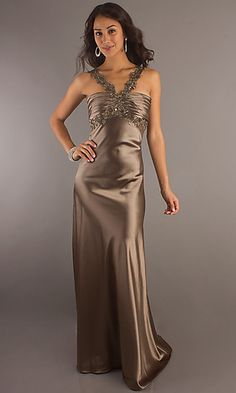 Full Length V-Neck Gown at SimplyDresses.com