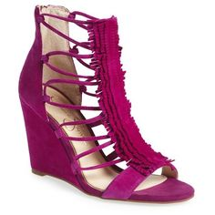 Women's Jessica Simpson 'Beccy' Wedge Sandal ($119) ❤ liked on Polyvore featuring shoes, sandals, jam berry suede, fringe sandals, suede fringe sandals, fringe wedge sandals, fringe shoes and wedge sandals