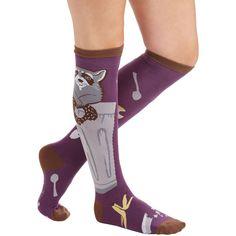 ModCloth Critters Alfresco Feast Socks (31 BRL) ❤ liked on Polyvore featuring intimates, hosiery, socks, foundation, knee-high sock, purple, knee socks, knee high socks, purple knee socks and purple socks