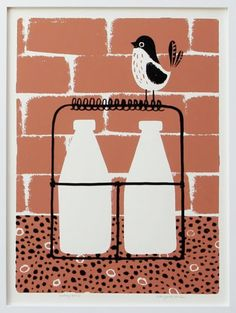 bird with milk bottles - just about to drink the cream off the top :)