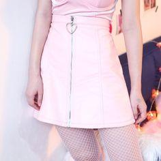 Pink Heart Zipper High Waist Skirt – kawaiimoristore