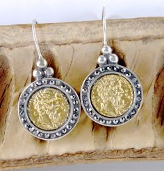 Zeus - 18K Gold Plated - 925 Sterling Silver, Ancient Coin Earrings, fish hook, black Cubic Zirconia's by ARTemisDesignsLLC on Etsy https://www.etsy.com/listing/229434514/zeus-18k-gold-plated-925-sterling-silver