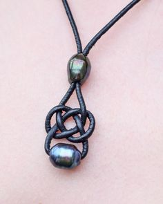 Celtic Knot Necklace Leather and Pearl Celtic by BritishBohemian