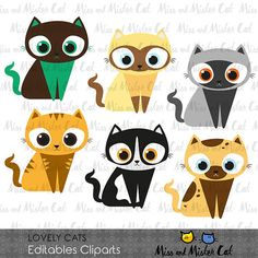 Cat clipart. kitten vector graphics, kitty clipart, cats digital images. Commercial use. Model Lovely Cats  Vector clipart set is suitable for