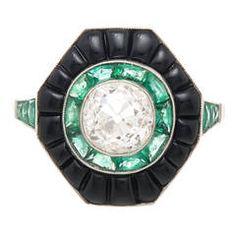 Cushion Cut Diamond Emerald Onyx Target Ring