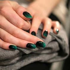 Emerald Green Fashion for Winter '13: black and green nails