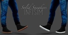 Solid Sneakers Teen + YA/A Male 1 Recolorable Channel: the sole Download: Dropbox - (package)   (sims3pack) Original/Mesh by Pixicat Model: Kwabs TOUs: Do anything but claim as own, and if shared please link back to me. If you use my CC tag #Infisim, and I will happily reblog.