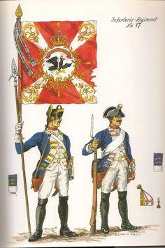 Prussia; Infantry Regiment Nr.17, c.1750 by G.Donn