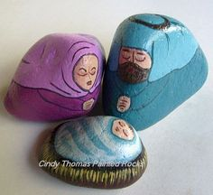 nativity sets painted on rocks by Cindy Thomas