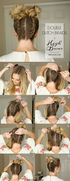 "Take the popular hairstyle ""Space Buns"" to the next level with dutch braids! This hairstyle, original inspo here, is not only perfect for sweating it out at the gym but easily transitions for whatever you've got scheduled afterwards! Make the braiding easier by flipping your…"